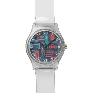 Cool trendy vintage London illustrations pattern Watch