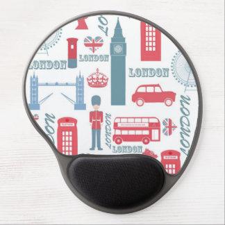 Cool trendy vintage London landmark illustrations Gel Mouse Pad