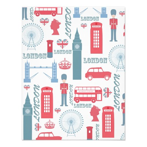 Cool trendy vintage London landmark illustrations Custom Announcement