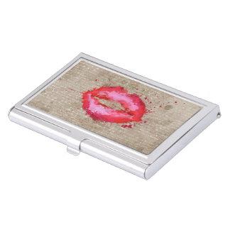 Cool trendy vintage watercolours lips splatters business card holder
