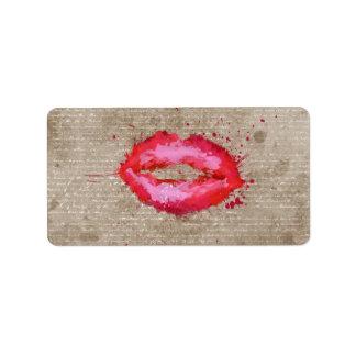 Cool trendy vintage watercolours lips splatters label