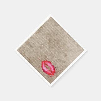 Cool trendy vintage watercolours lips splatters paper napkin