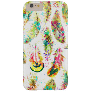 Cool trendy watercolor neon splatters feathers barely there iPhone 6 plus case
