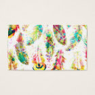 Cool trendy watercolor neon splatters feathers business card