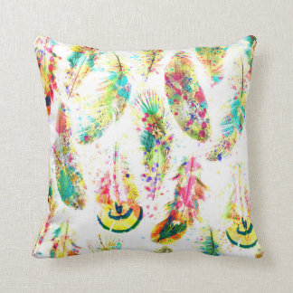 Cool trendy watercolor neon splatters feathers cushion