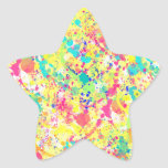 Cool trendy watercolor splatters abstract art star sticker