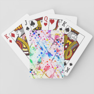 Cool trendy watercolor splatters tribal arrows poker deck