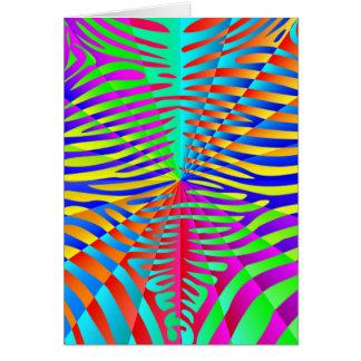 Cool trendy Zebra pattern colorful rainbow stripes Card