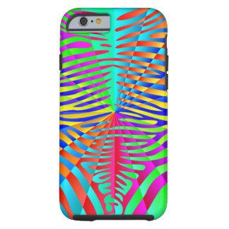 Cool trendy Zebra pattern colorful rainbow stripes Tough iPhone 6 Case