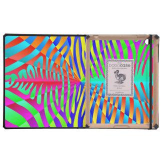 Cool trendy Zebra pattern colorful rainbow stripes iPad Case