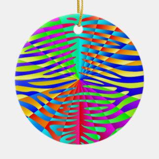 Cool trendy Zebra pattern colorful rainbow stripes Ornaments