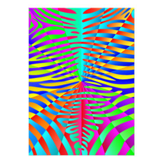 Cool trendy Zebra pattern colorful rainbow stripes Personalized Announcements
