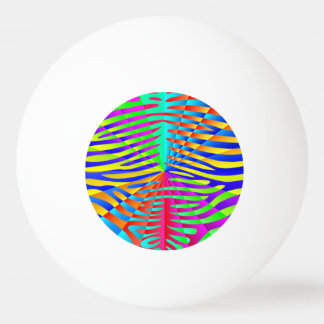 Cool trendy Zebra pattern colorful rainbow stripes Ping Pong Ball