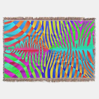 Cool trendy Zebra pattern colorful rainbow stripes Throw Blanket