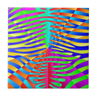 Cool trendy Zebra pattern colorful rainbow stripes Tiles