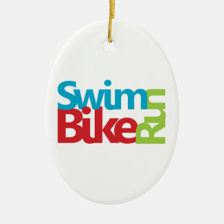 Cool Triathlon design Ceramic Oval Decoration