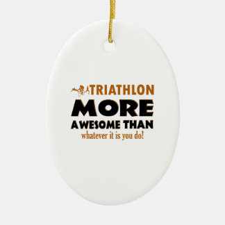 Cool Triathlon designs Ceramic Oval Decoration
