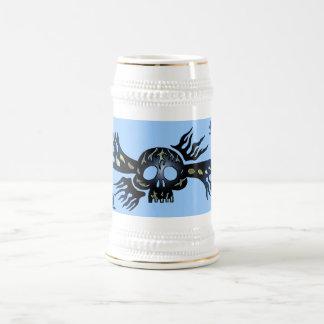 Cool tribal skull metal music graphic art beer mug