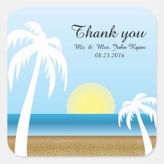Cool Tropical Beach Theme Square Sticker