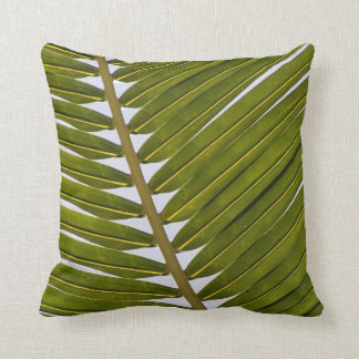 Cool Tropical Fern Green white hip leaf Throw Pillow