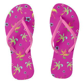 Cool tropical palms and flowers on pink flip flops