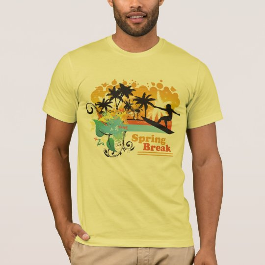 Cool tropical surfing spring break men's t-shirt