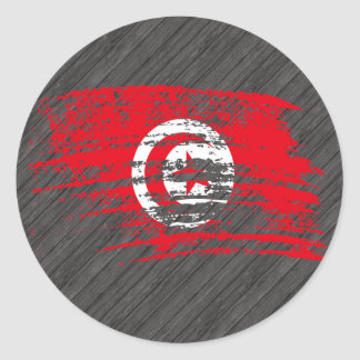 Cool Tunisian flag design Round Sticker