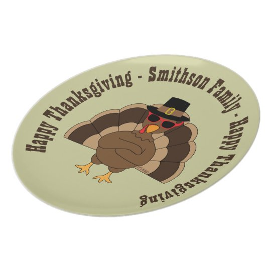 Cool Turkey with sunglasses Happy Thanksgiving Plate