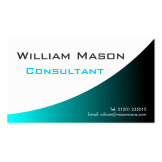Cool Turqouise White Curved Professional Business Business Card