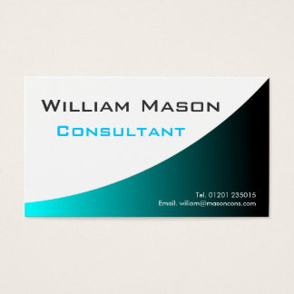 Cool Turqouise White Curved, Professional Business Business Card
