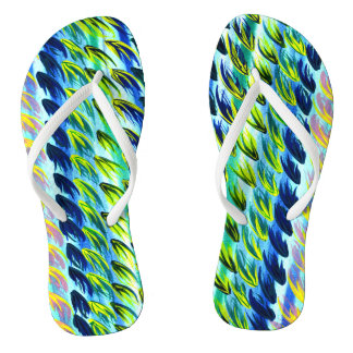 Cool Turquoise Abstract Watercolour Flip Flops