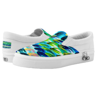 Cool Turquoise Abstract Watercolour Slip-on Shoes