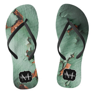 Cool turquoise brown rusty metal Monogram Flip Flops