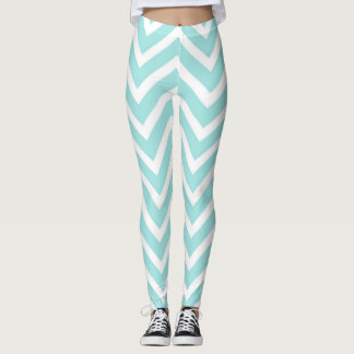 Cool Turquoise Chevron Pattern Leggings