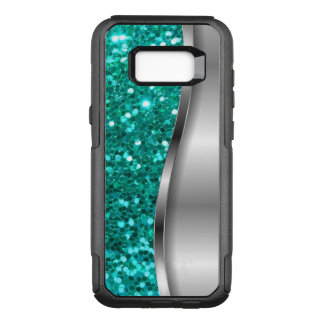 Cool Turquoise Faux Glitter OtterBox Commuter Samsung Galaxy S8+ Case