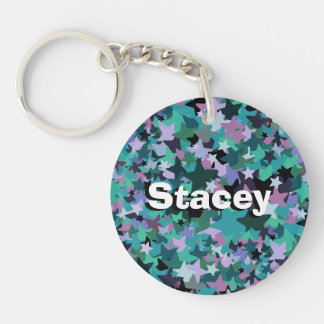 Cool Turquoise Star Pattern - Rock chick style Double-Sided Round Acrylic Key Ring
