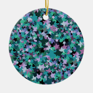 Cool Turquoise Star Pattern - Rock chick style Round Ceramic Decoration