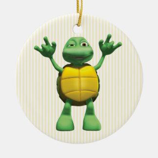 Cool Turtle Round Ceramic Decoration