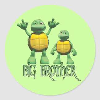 Cool Turtles Big Brother Classic Round Sticker