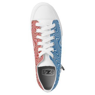 COOL Two Colors Red/Blue White Curvy Line Pattern Low Tops