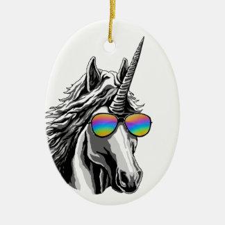 Cool unicorn with rainbow sunglass christmas ornament