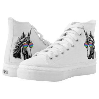Cool unicorn with rainbow sunglass high tops