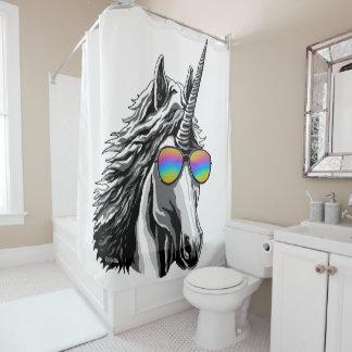 Cool unicorn with rainbow sunglass shower curtain