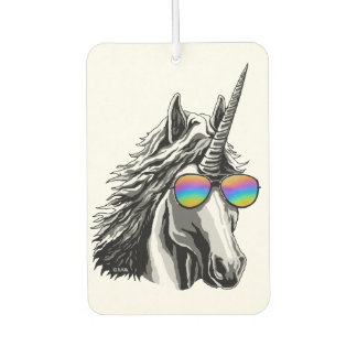 Cool unicorn with rainbow sunglasses car air freshener