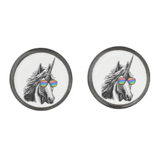 Cool unicorn with rainbow sunglasses gunmetal finish cufflinks