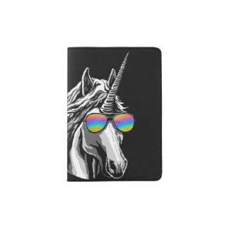 Cool unicorn with rainbow sunglasses passport holder