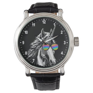 Cool unicorn with rainbow sunglasses watch
