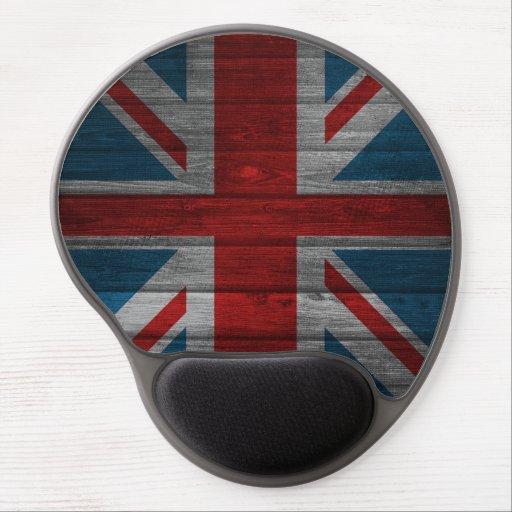 Cool union jack flag gadrk grunge wood effects gel mousepads