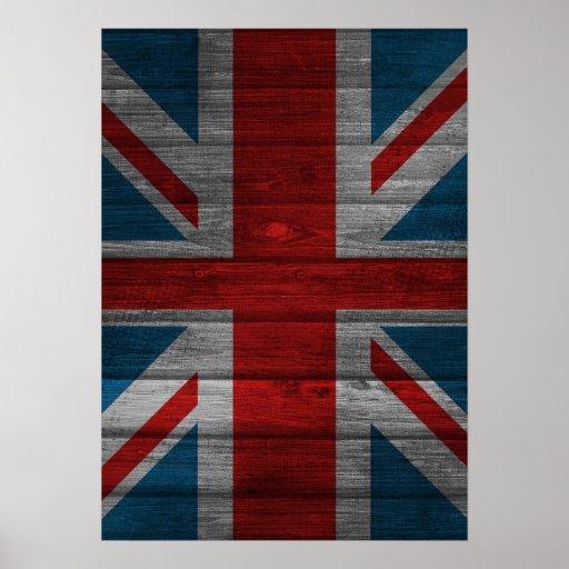 Cool union jack flag gadrk grunge wood effects poster