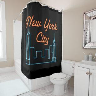 Cool Unique Retro New York City Skyline Shower Curtain